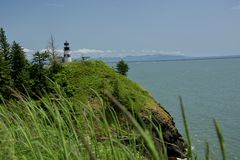 No Disappointment Here!. Taken of Cape Disappointment Lighthouse, WA, June 2018.  Taken from in front of the Interpretative Center associated with the Cape Royalty Free Stock Photos