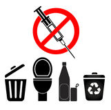 No Disposal for Syringes and Needles Stock Images