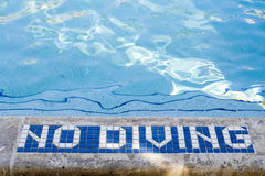 No Diving. Permitted in swimming pool Royalty Free Stock Images