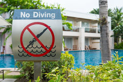 No diving. Sigh ath the swimming pool Royalty Free Stock Photos