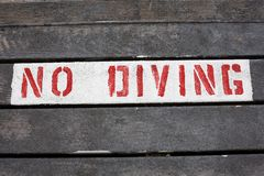 No diving sign Royalty Free Stock Photos