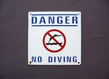 No Diving Sign Royalty Free Stock Photo