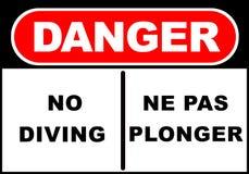 No Diving Sign. Illustration of a danger sign - no diving - ne pas plonger royalty free illustration