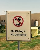 No diving sign. No diving and jumping sign royalty free stock images