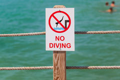 No Diving Sign On The Pier Stock Photography