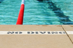No Diving sign By Pool Royalty Free Stock Photo