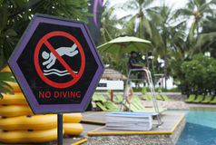 No diving sign on the side of a swimming pool Stock Photo
