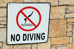 No diving sign royalty free stock images