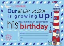 No1 do convite do aniversário do partido da navigação Fotografia de Stock Royalty Free