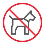 No dog line icon, prohibition and forbidden. No pet sign vector graphics, a linear pattern on a white background, eps 10 Royalty Free Stock Photos