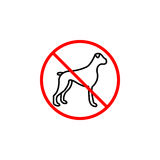 No dog line icon, prohibition sign, forbidden. No animal, vector graphics, a linear pattern red on a white background, eps 10 Stock Photos