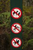 No Dog, No Motor Cycles, No Horse Riding Sign vector illustration