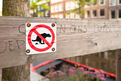 No Dog Poop Sign. Amsterdam Royalty Free Stock Image