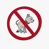 No dog pooping vector sign Royalty Free Stock Photos