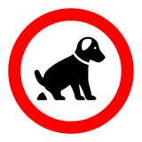 No dog pooping warning sign. Illustration Stock Image