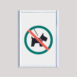 No dog sign on white wall Royalty Free Stock Photography