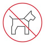 No dog thin line icon, prohibition and forbidden. No pet sign vector graphics, a linear pattern on a white background, eps 10 Stock Photos