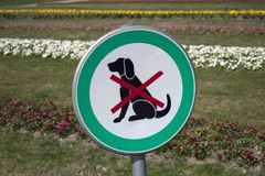 No dogs allowed, dogs forbidden stock photo