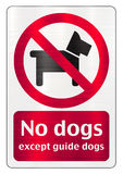 No dogs allowed except guide dogs Royalty Free Stock Image