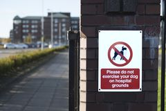 No Dogs Allowed On Hospital Property Grounds Sign royalty free stock images