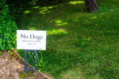No Dogs Allowed On Premises Sign. Posted Sign Banning Dogs On Premises Stock Image