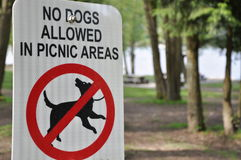 No dogs allowed sign. In picnic areas Royalty Free Stock Photography