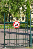 No dogs allowed sign on the fence Stock Image