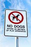 No Dogs Allowed Sign on a Public Playground Stock Photos