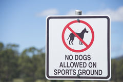 No Dogs Allowed on Sports Ground Sign Stock Images