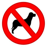 No Dogs Area Sign. With dog silhouette inside isolated over white background Royalty Free Stock Images