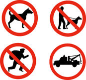No dogs,burglars and towing sign Stock Photography