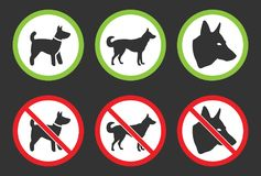 No dogs icons, dog prohibited and allowed signs