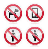 No dogs, No phones, No men, No women warninng sign Stock Photo