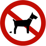 No dogs pooping allowed. (sign Stock Photos