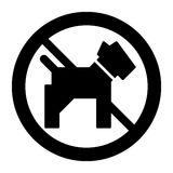 No dogs simple vector icon. Black and white illustration of dog and forbidden sign. Solid linear pet icon. Eps 10 Stock Image