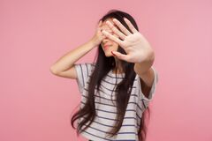 Free No! Don`t Want To Watch! Portrait Of Displeased Girl Hiding Eyes Showing Stop Gesture, Feeling Disgusted By Seen Royalty Free Stock Photo - 176568005