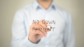 No Down Payment , Man writing on transparent screen. High quality Royalty Free Stock Photo
