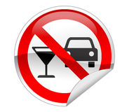 No Drink & Drive Sign. No Drink & Drive Sign on white background Stock Image