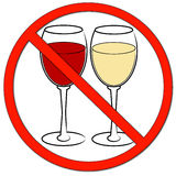 No drinking allowed. Two wine glasses with not allowed symbol - drinking prohibited - vector Stock Photos