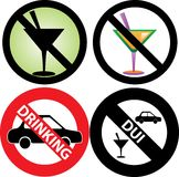 No Drinking Sign 2. Vector Illustration of four No Alcohol or drinking while driving Signs. See my others in this series Stock Image
