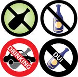 No Drinking Sign 3. Vector Illustration of four No Alcohol or drinking while driving Signs. See my others in this series Stock Photo