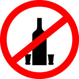 No drinking sign. No alcohol sign isolated on white background. Stock Photography