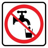 No Drinking water sign. In white background drawing by illustration.Non Potable Drink water-Prohibition sign stock illustration