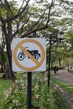 No driving Motorcycle Signs. In the park Stock Photography