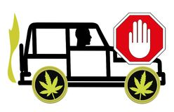 No driving under the influence of Cannabis. It is prohibited by law to ride a vehicle being high Royalty Free Stock Photo