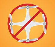 No drone ban illustration with drones and red sign Royalty Free Stock Images