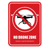 No drone zone restrictive sign - quadcopter Stock Images
