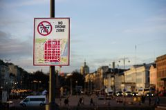 No Drone Zone sign. In center of Helsinki, Finland stock photo