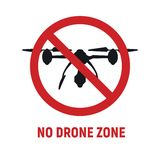No drone zone vector sign. No drone zone sign. No drones icon vector. Flights with drone prohibited. No drone zone sign isolated on white background vector illustration