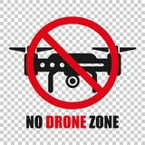 No drone zone sign icon in transparent style. Quadrocopter ban vector illustration on isolated background. Helicopter forbidden. Flight business concept royalty free illustration